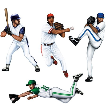 Baseball Player Cutouts-4 Per Unit, 4 Cutouts per package By Beistle