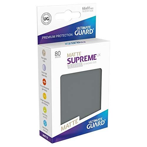 Ultimate Guard Supreme Sleeves Standard Size Pack of 80, Solid Black