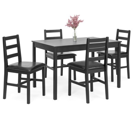 Birch Dining Room Side Table - Best Choice Products 5-Piece Wooden Breakfast Table Furniture Set for Dining Room, Kitchen w/ 4 Cushioned Chairs - Black