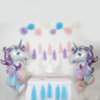 Efavormart 42 PCS Unicorn Theme Party Decoration Supply Kit with Foil Latex Balloon Pom Tassels For Event Decoration