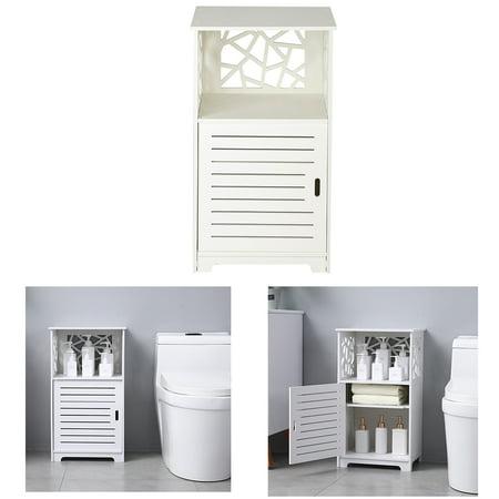 Peroptimist Bathroom Storage Cabinet Bathroom Floor Cabinet Free Standing with Single Door Compartment Multifunctional Bathroom Storage Organizer Toiletries 70cm high Bedside Table PVC