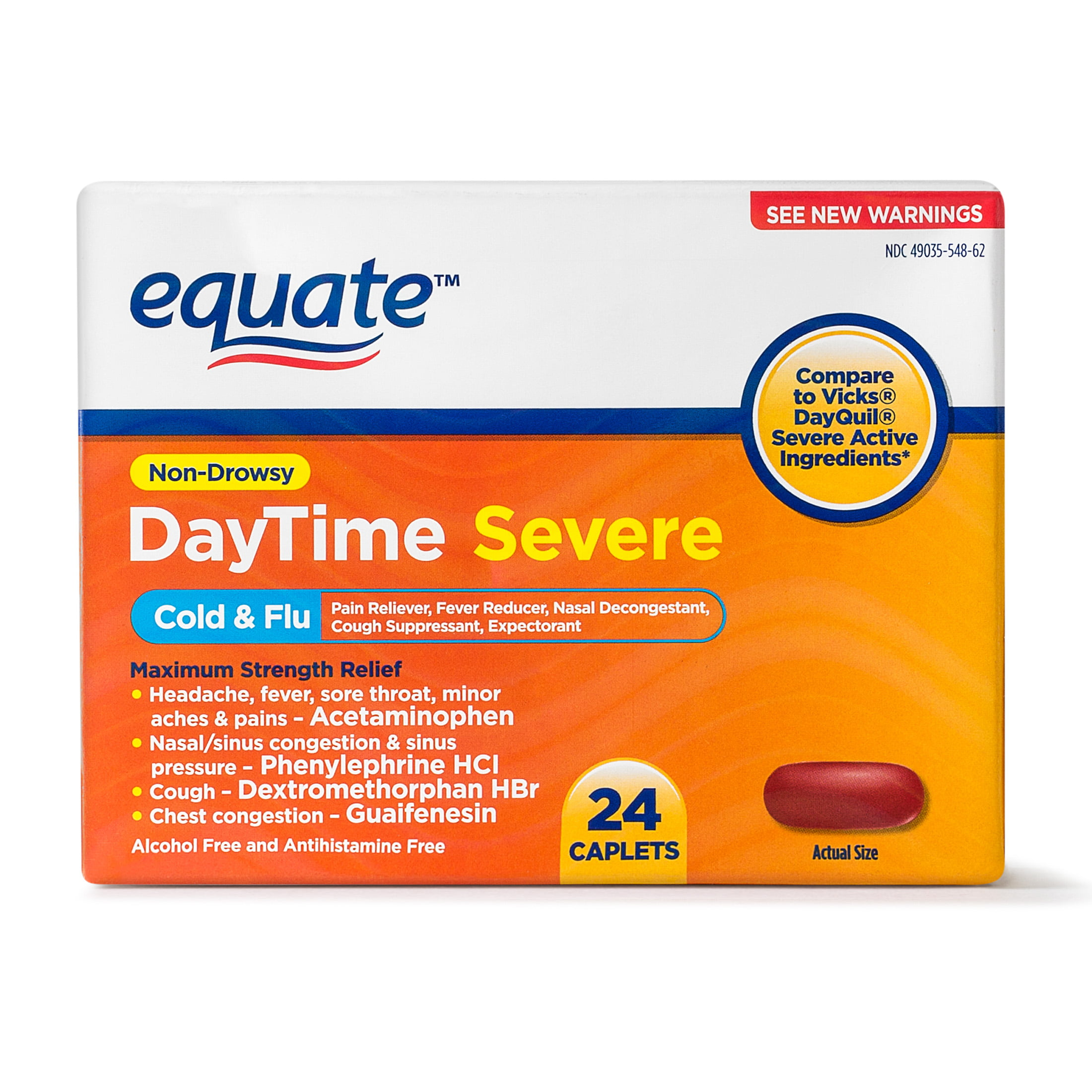 Equate Daytime Cold & Flu; Pain Reliever, Fever Reducer, Nasal Decongestant, Cough Suppressant, Expectorant 24 Count