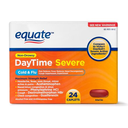 Equate DayTime Severe Non-Drowsy Cold & Flu Caplets, 325 mg 24