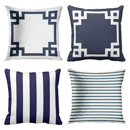 Sufam Set Of 4 Pillow Cases Cute Preppy Navy Blue And White Greek Key Girly Striped Throw Pillowcase Cover Cushion Case Home Decor 18x18 Inch