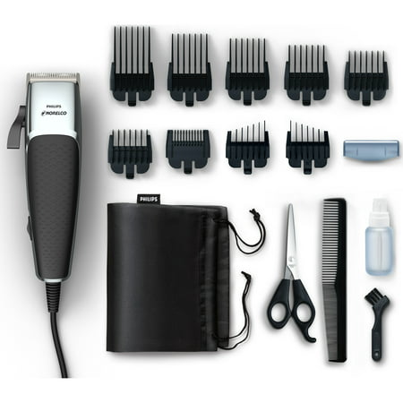 Philips Norelco Hair Clipper 5000, HC5100/40 - Hair and beard trim kit with 16 pieces, skin friend steel blades, adjustable lever for fades, and 9.1