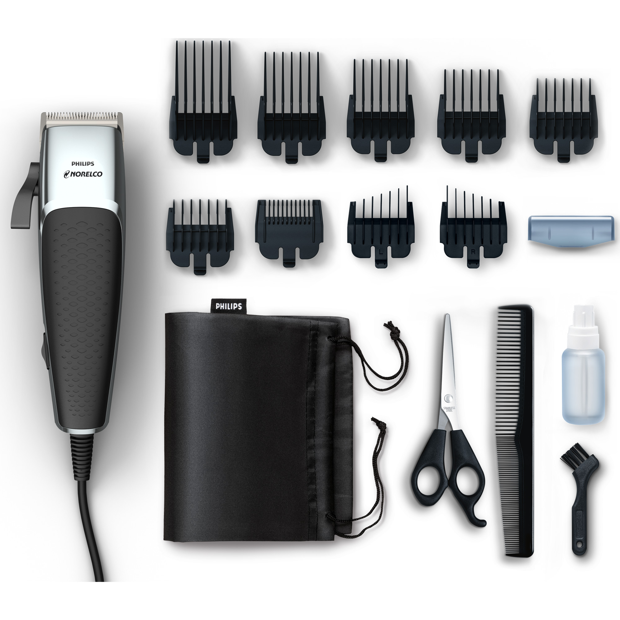 """Philips Norelco Hair Clipper 5000, HC5100/40 - Hair and beard trim kit with 16 pieces, skin friend steel blades, adjustable lever for fades, and 9.1"""" cord."""