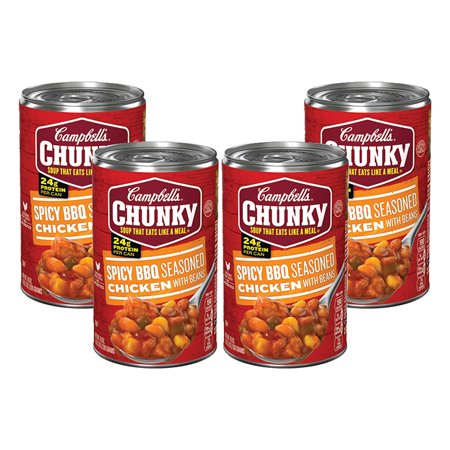 (4 Pack) Campbell's Chunky Spicy BBQ Seasoned Chicken with Beans Soup, 19