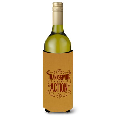 - Thanksgiving is Action Wine Bottle Beverge Insulator Hugger BB5458LITERK