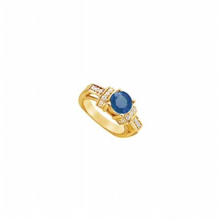 Created Sapphire & CZ Engagement Ring, 14K Yellow Gold - 2.50 CT TGW , 24 Stones