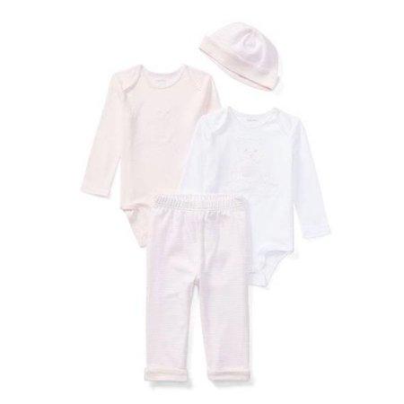 Ralph Lauren Girls Bodysuits, Hat, & Pant Gift Set, Pink/White 12m