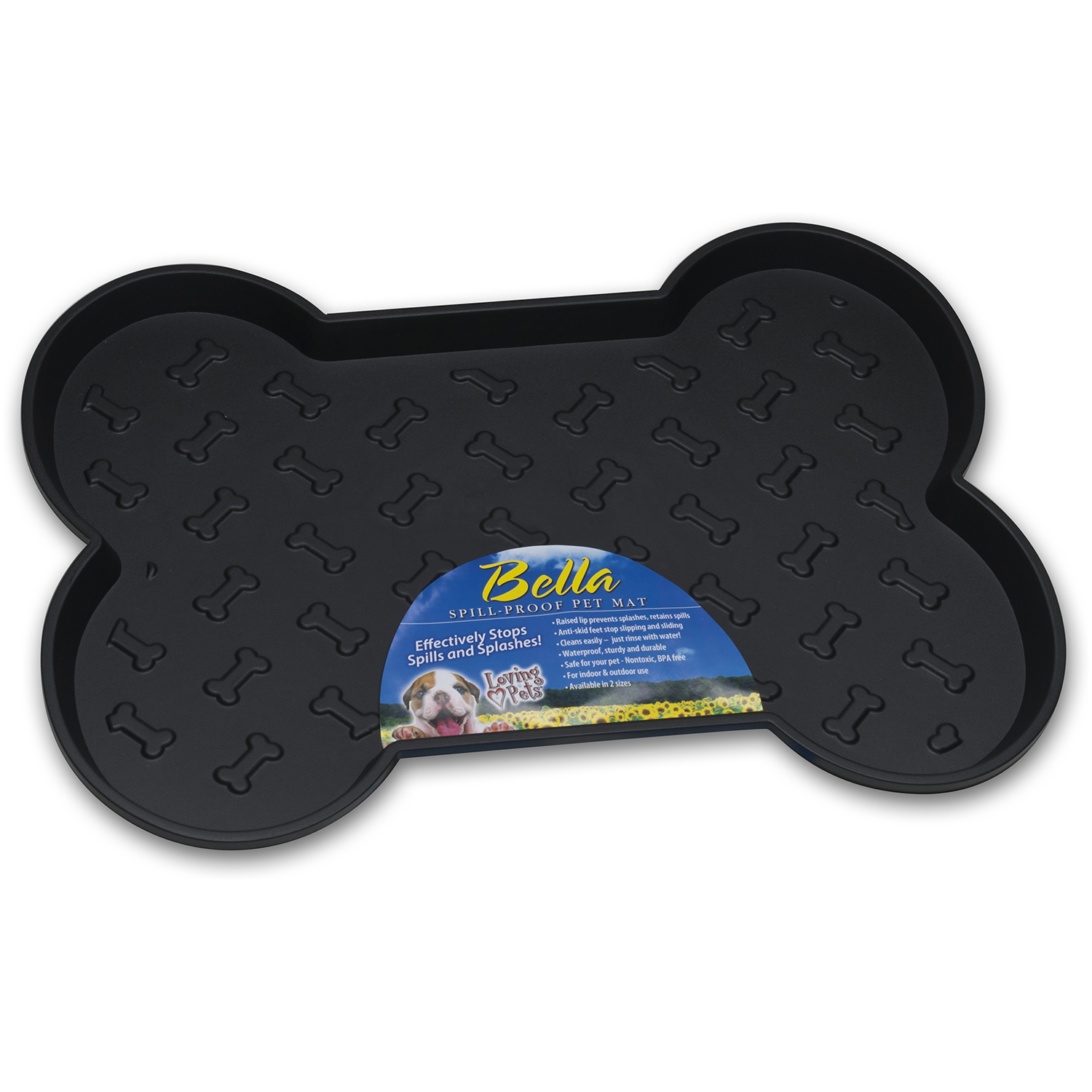"Bella Spill-Proof Bone Shaped Dog Mat, 18.25"" x 13"""