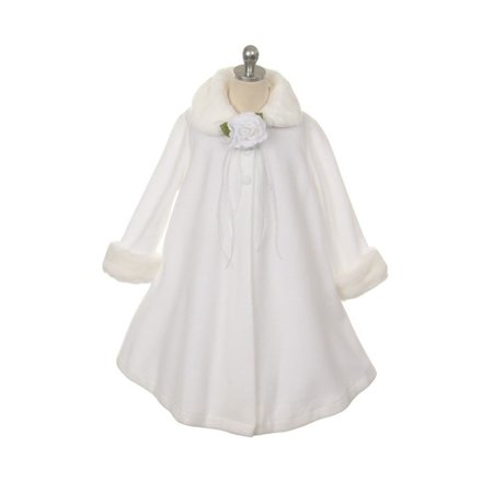 White Fleece Faux Fur Collar Cuff Stylish Coat Girls 12 - Faux Fur Coat Girls