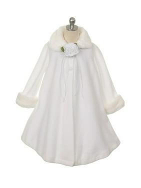 White Fleece Faux Fur Collar Cuff Stylish Coat Girls 12