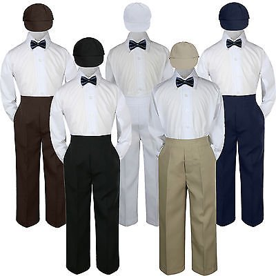 4pc Navy Blue Bow Tie Party Suit Pants Set Formal Baby Boy Toddler Kid S-7