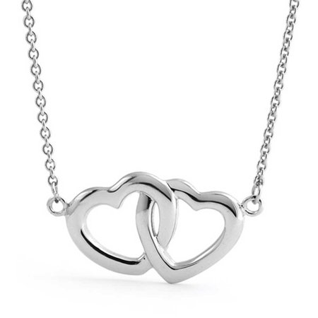 BFF Mother Daughter Couples Station Interlocking Hearts Pendant Necklace For Women For Girlfriend 925 Sterling Silver (M&m Couple)
