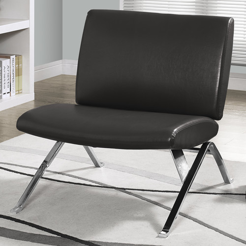 Leather Look Accent Chair, Charcoal Gray with Chrome Metal Legs