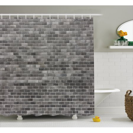 Grey And White Shower Curtain Modern Brick Wall Tiles Urban