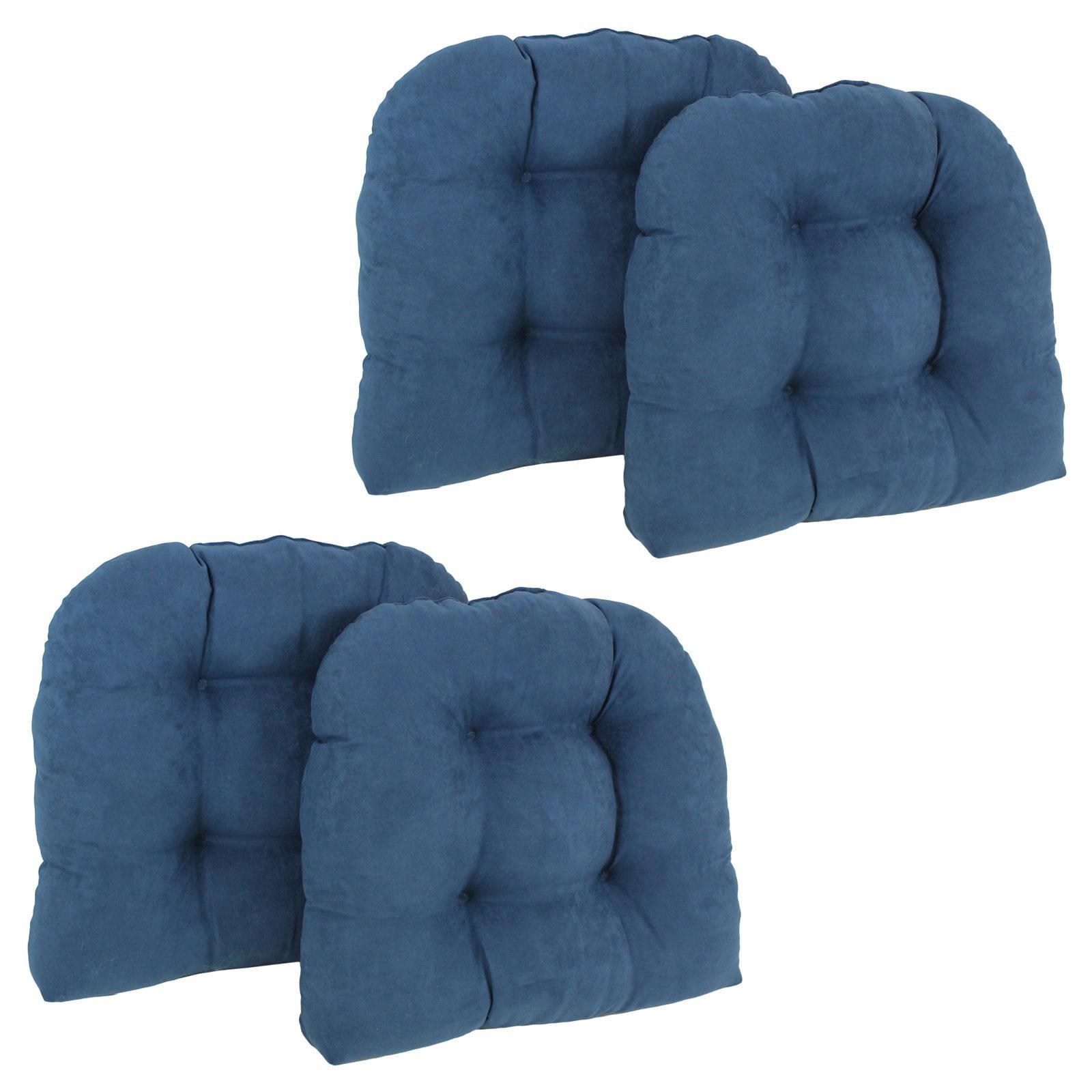 Blazing Needles Microsuede U Shaped Indoor Chair Cushion - Set of 4