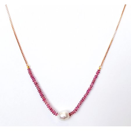 White South Sea Baroque Curltured Pearl and Pink Tourmaline Bolo Necklace in .925 Sterling Silver (Pink Pearl Flower Pendant)