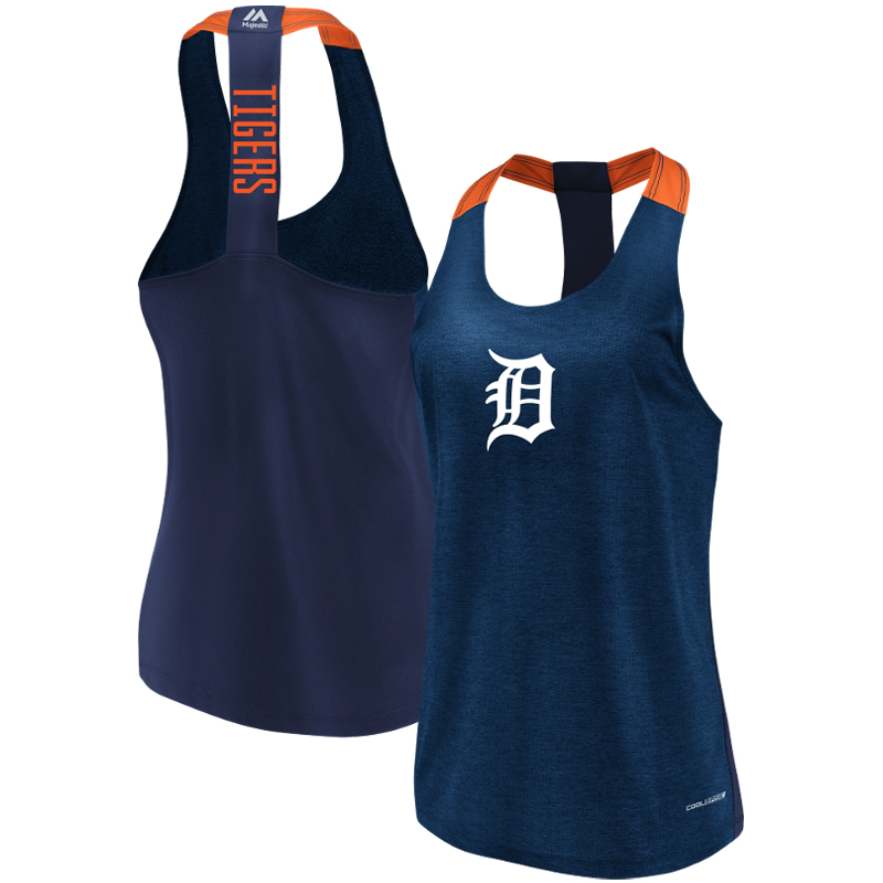 Detroit Tigers Majestic Women's Desire More Cool Base Tank Top Heathered Navy by MAJESTIC LSG