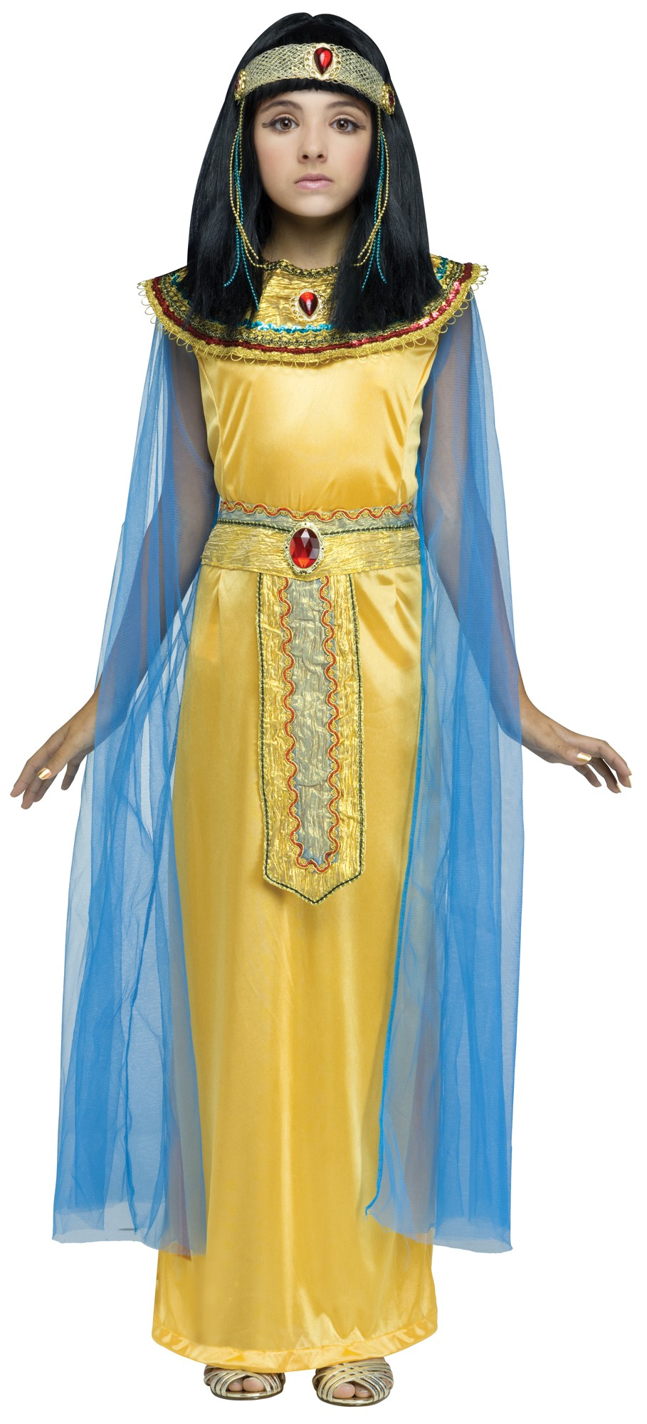 4ca4740ebbe Girls Golden Cleo Halloween Costume Fancy Dress Cleopatra Egyptian Queen  Child