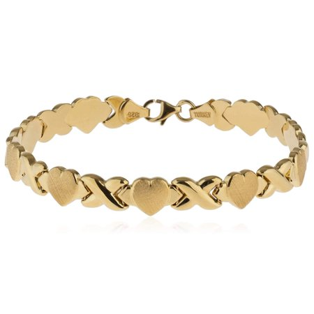 18kt Gold Plated 925 Sterling Silver Hugs and Kisses XOXO Bracelet ()