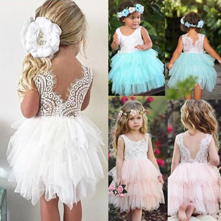 46a66ef2a Kids Princess Dress Baby Flower Girl Dress Lace Backless Party Gown ...