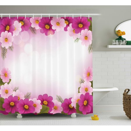 Pink Shower Curtain Framework With Romantic Daisies Valentines Day Design Celebration Theme Fabric Bathroom