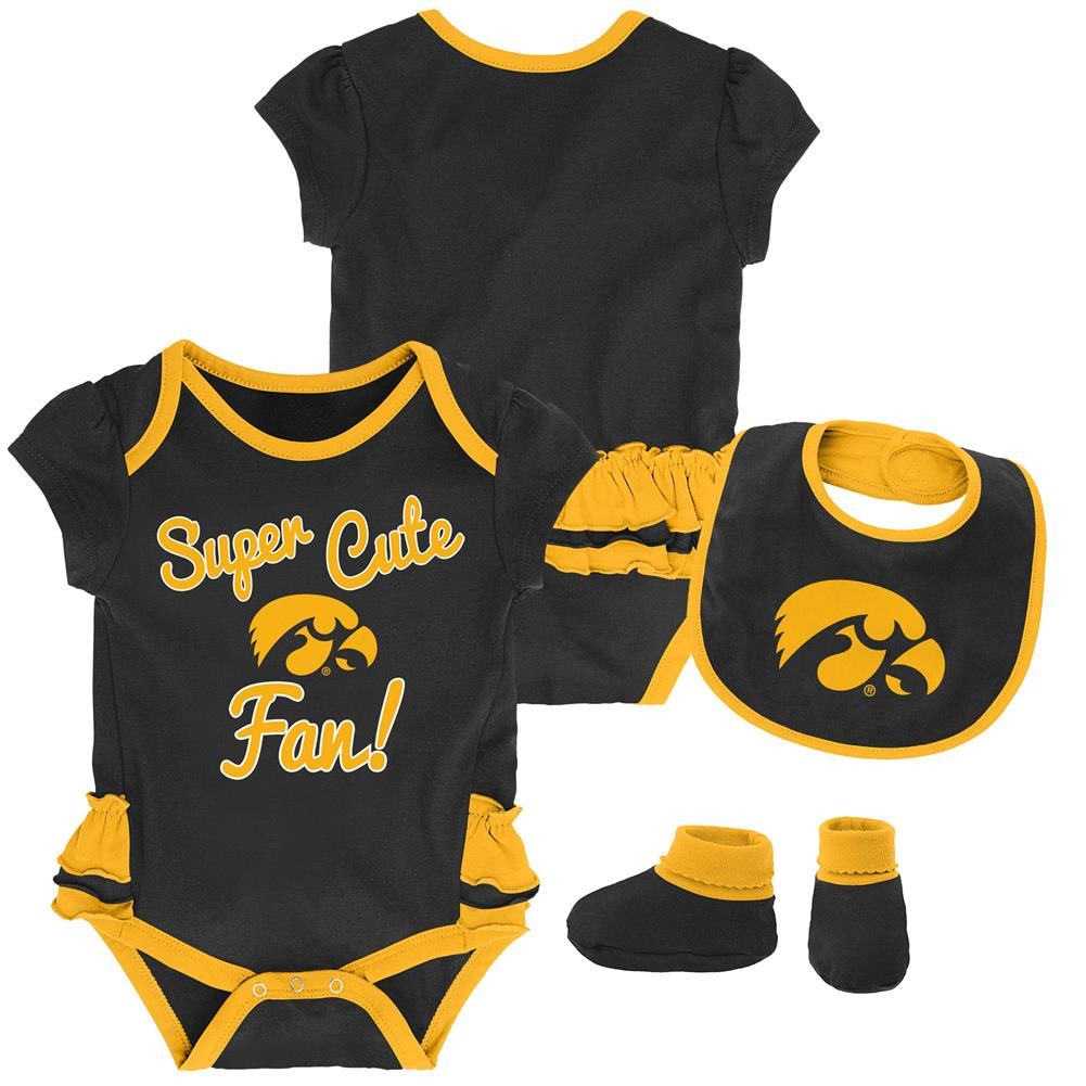 University of Iowa Hawkeyes Creeper, Bib and Bootie Set Infant Set