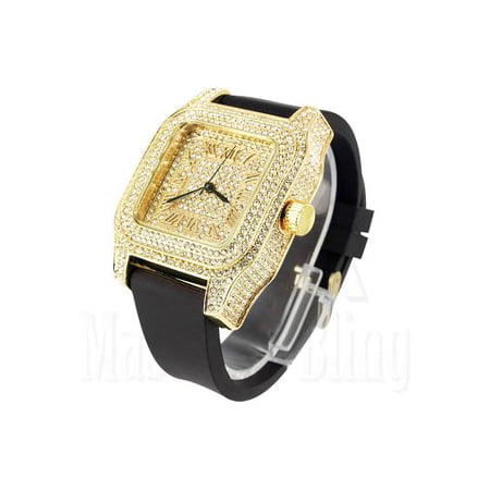 Lab Created Cubic Zirconia Techno Pave Watch 14k Yellow Gold Finish Mens Silicone Band