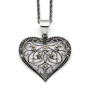 Stainless Steel Marcasite Textured Heart Necklace