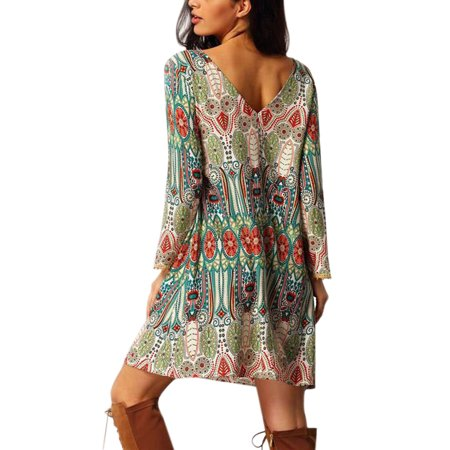 Nlife Women's Vintage Long Sleeve V-Back Ethnic Style Dress (Green 1920s Style Dress)