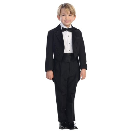 Little Boys Black Peak Collar Round Split Tail Elegant 5 Pc Tuxedo Suit - Tuxedo With Tails For Sale