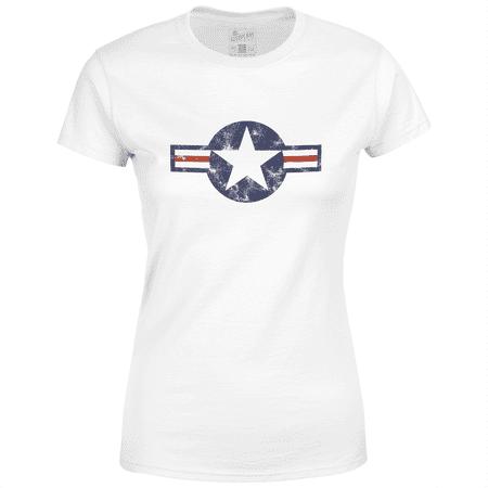 7045576ac Aeroplane Apparel Company - USAF Roundel Current Aeroplane Apparel Ladies T- Shirt - Walmart.com
