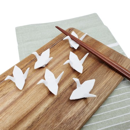 Set of 6, The Elixir White Crane Porcelain Chopsticks Rest Holder, Ceramic Knife Fork Spoon Chopsticks Tableware Rest Set