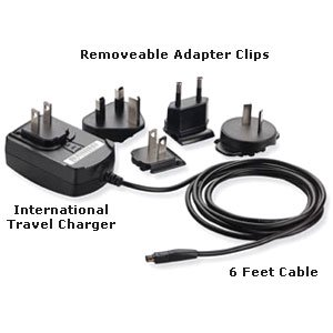Felt Clip (Ulta Slim International Travel Wall Charger Kit, Travel Wall Charger Removable Adapter Clips and 6 Feet Cable for Palm Z22, Palm TX, Palm LifeDrive - Black )
