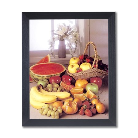Strawberry Grapes Apples Bananas Kitchen Wall Picture Black Framed Art Print (Apples Framed Print)