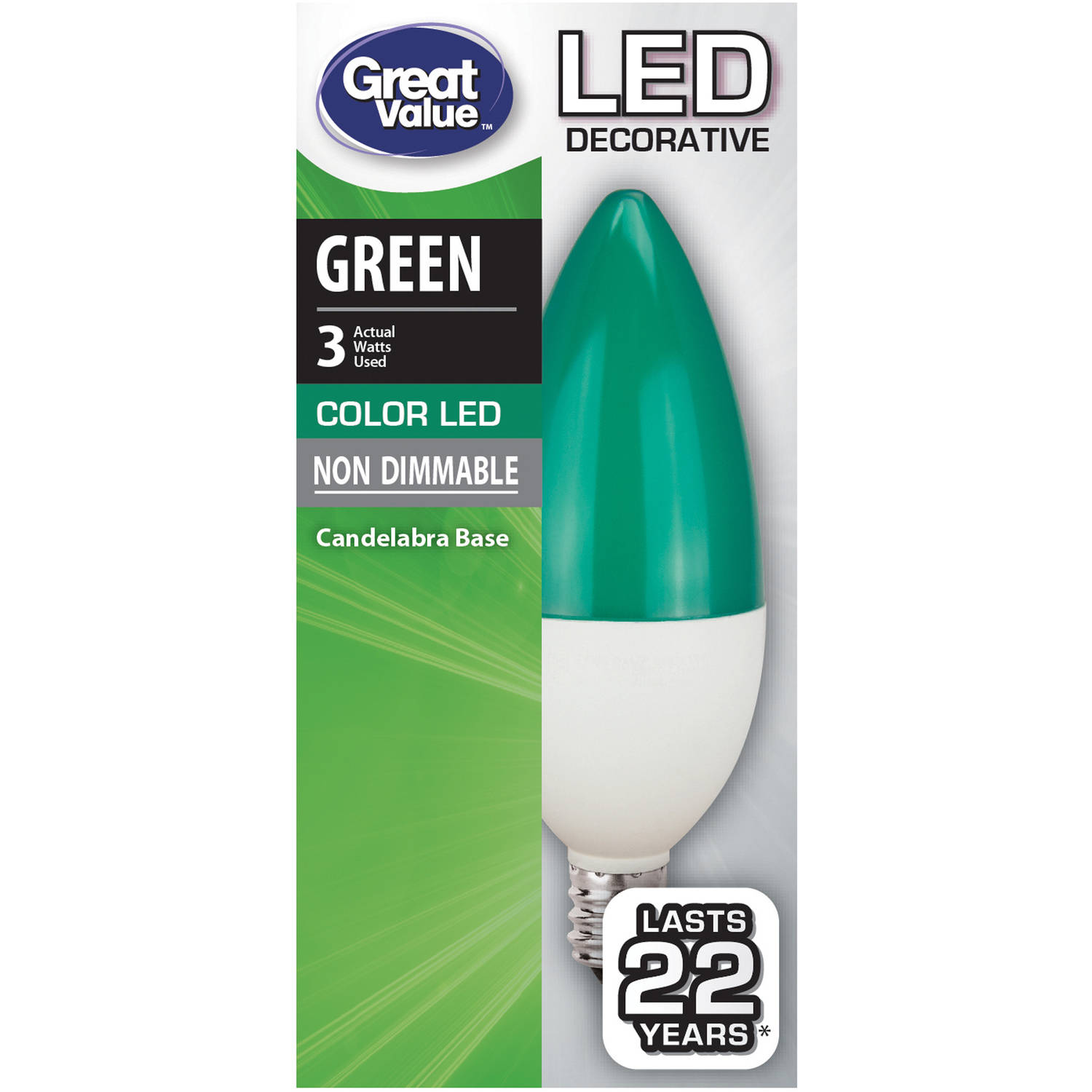 Great Value LED Decorative (E12) Light Bulb, 5 Watt, Green