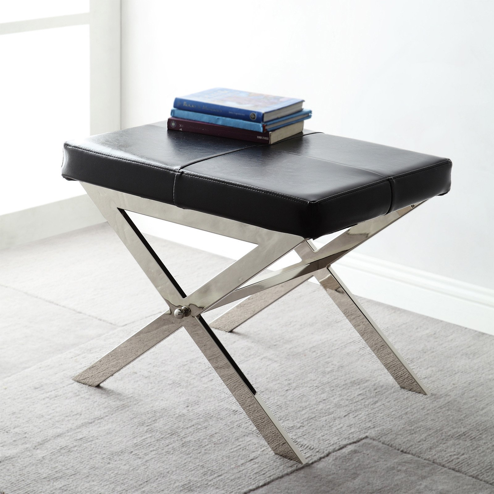 Chelsea Lane 22 in. X-Base Bonded Leather Stool