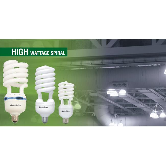 Overdrive 85W High Wattage Bulbs Spiral 277V E39 -4100K Cool White, Pack Of 6