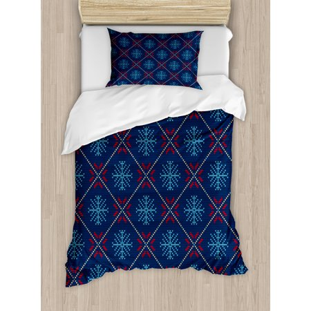 Nordic Duvet Cover Set, Checkered Pattern with Vintage Snowflake Motifs Norwegian Traditional Xmas, Decorative Bedding Set with Pillow Shams, Blue Beige Scarlet, by Ambesonne ()