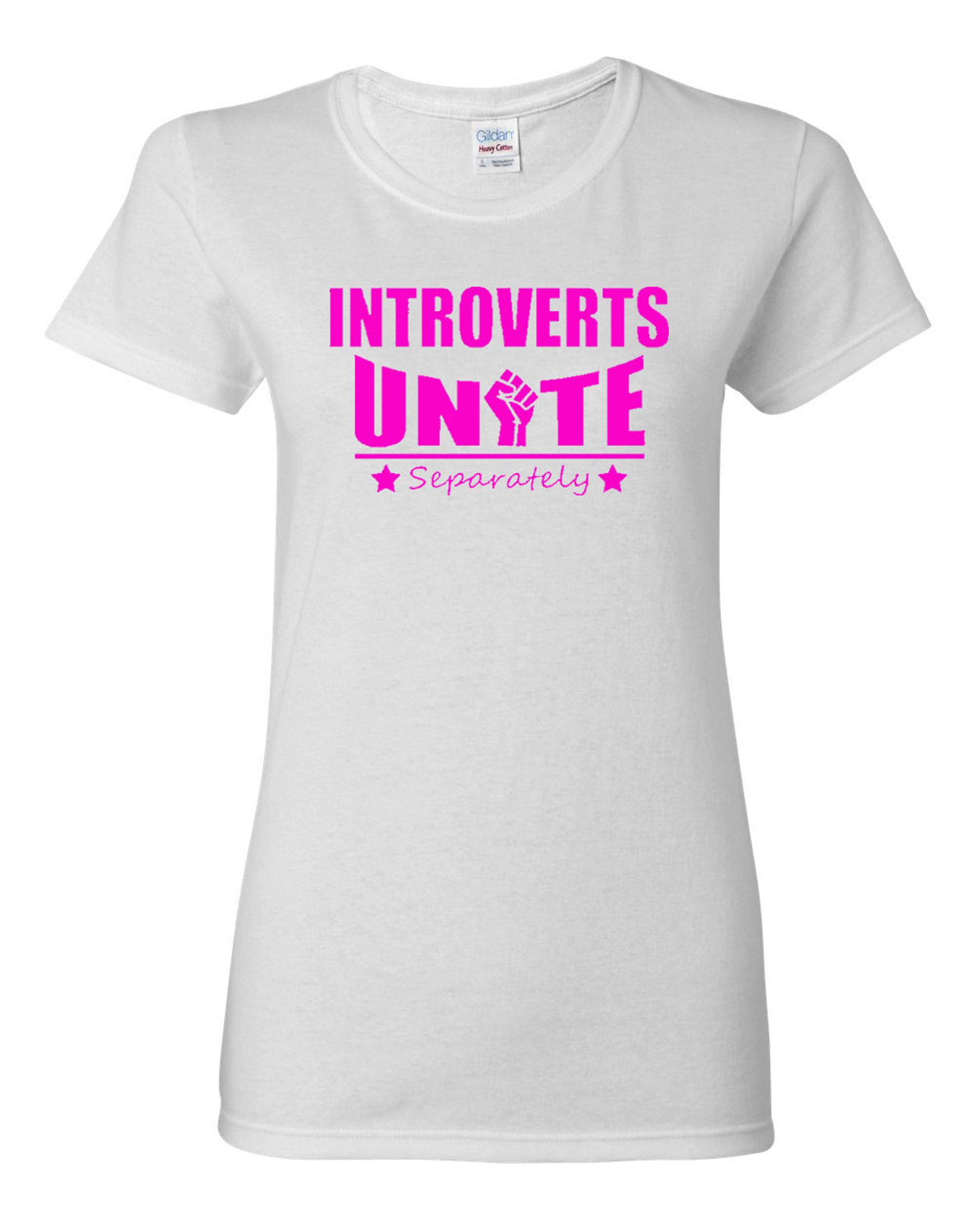 Ladies Introverts Unite Separately Funny T-Shirt Tee