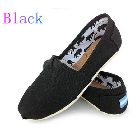 Black Classic Slip On - Womens Ladies Flat Slip On Espadrilles Pumps Canvas Plimsoles Shoes Size 6-10