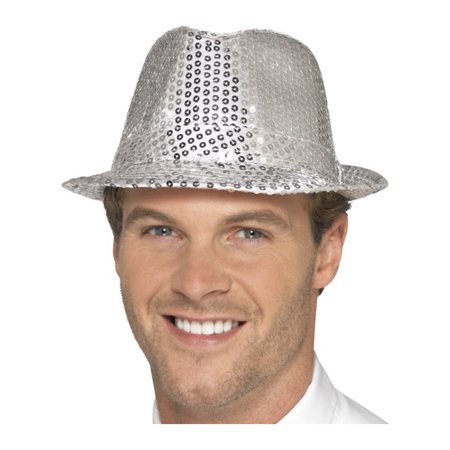 Fashionable Dance Silver Fedora Trilby Hat With Sequins Costume Accessory - Sequin Fedora