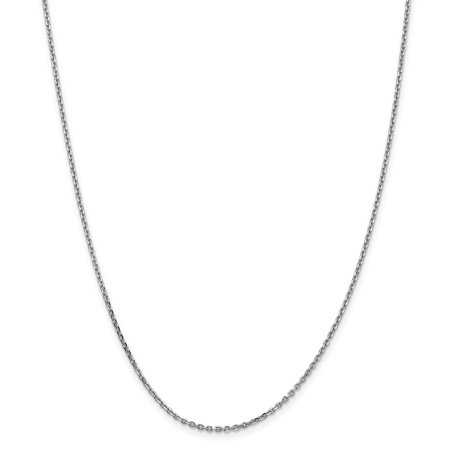 14k White Gold 1.65mm Solid D-Cut Cable Chain - Lobster Claw - Length: 16 to 30