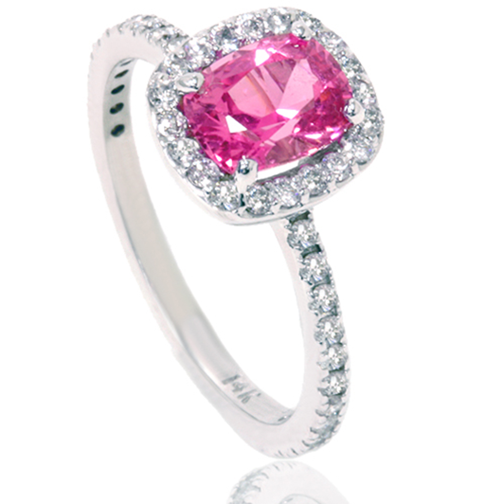 1 7 8ct Cushion Pink Sapphire Halo Pave Diamond Ring 14K White Gold by Pompeii3