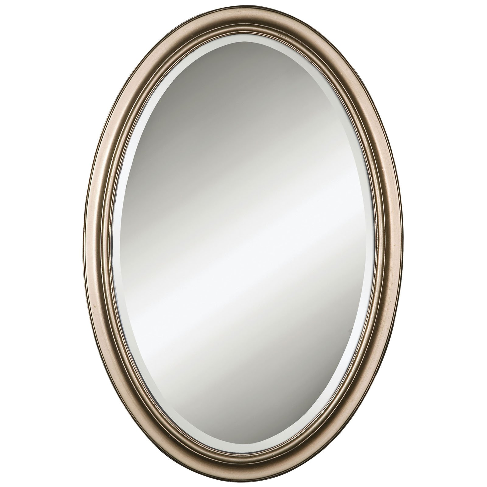 Uttermost Petite Manhattan Oval Silver Wall Mirror - 21W x 31H in.
