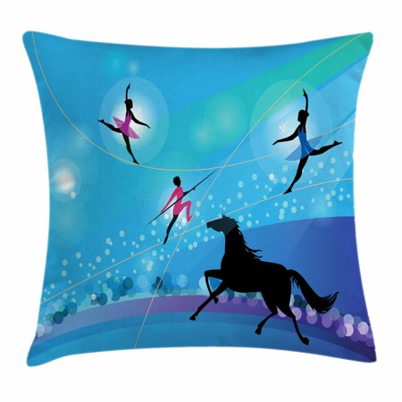 Trapeze Led (Circus Throw Pillow Cushion Cover, Graphic Silhouettes of Trapeze Artists or Ballerina on Tightrope and Horse Theme, Decorative Square Accent Pillow Case, 18 X 18 Inches, Multicolor, by)
