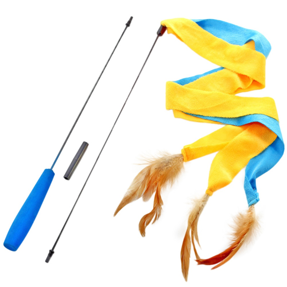 Cat Toy Interactive Cat Wand 3 Soft Strands with Feathers Teaser and Exerciser For Cat and Kitten by