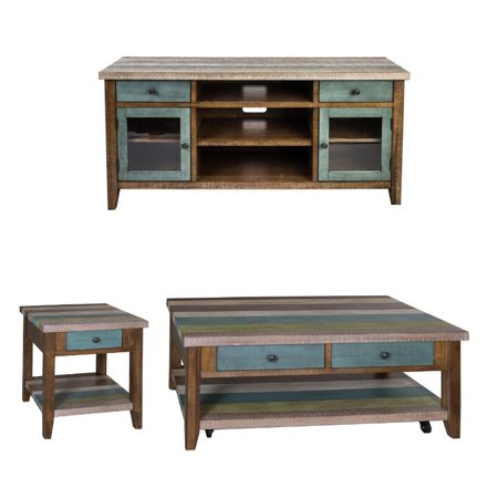 3 Piece Coffee Table Set With 60 Inch TV Stand and End Table ()